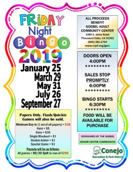 2019 Friday Night Bingo poster